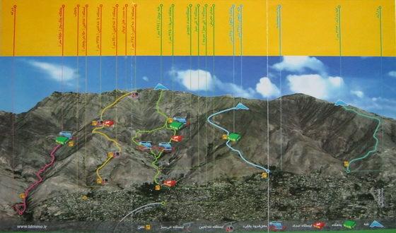 نقشه مسیرهای کوهپیمایی شمال تهران