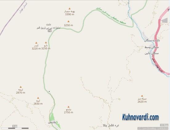 موقعیت قله های پهنه حصار - بارو (چشمه شاهی) و کندر