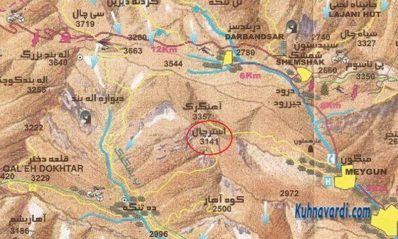 قله استرچال - نقشه علی مقیم