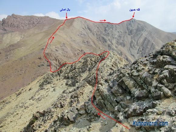 مسیر قله همهن از یال جنوب غربی