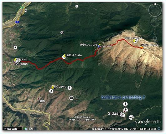 مسیر قله درفک