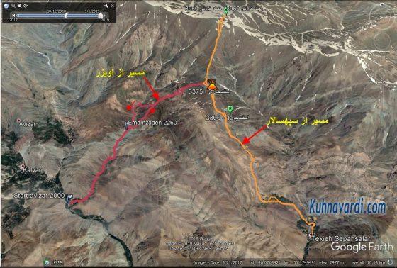 مسیر قله اسفندچال از آویزر