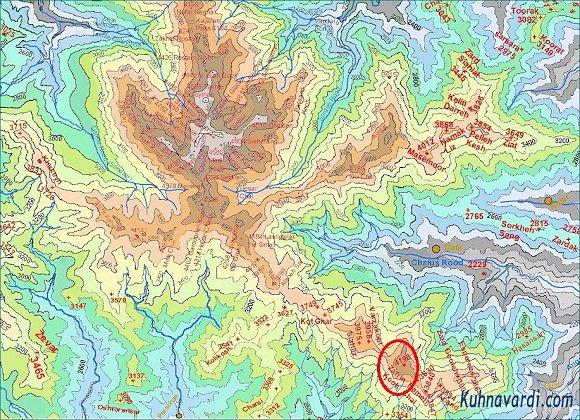 نقشه علم کوه