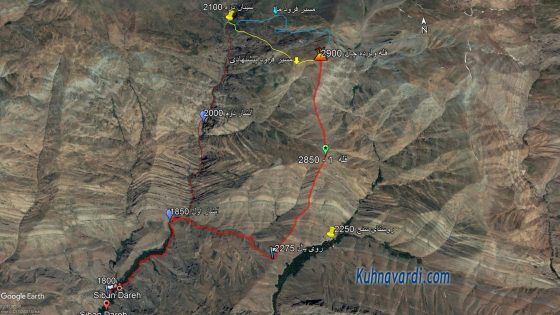 مسیر قله ولرده چال از سیبان دره