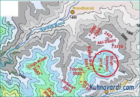 نقشه توپوگرافی قله شاه علمدار