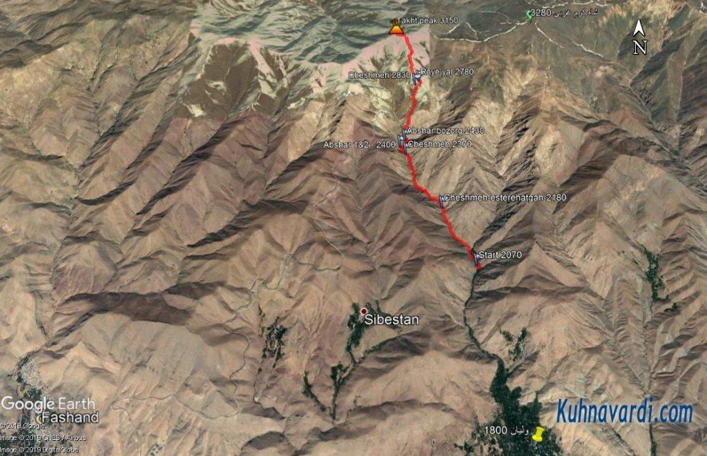 مسیر قله تخت از ولیان