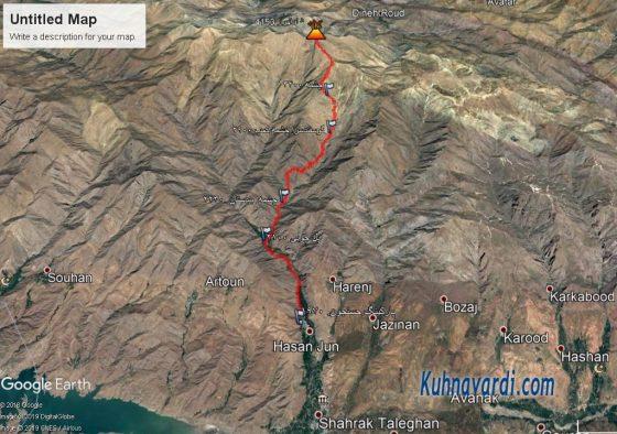 قله شاه البرز - مسیر پیموده شده در گوگل ارث
