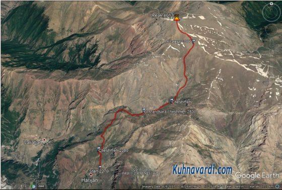 مسیر قله وروشت از هریجان