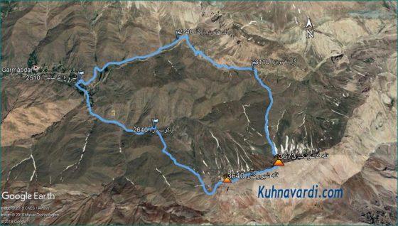قله های کاسونک و شیورکش - مسیر پیموده شده
