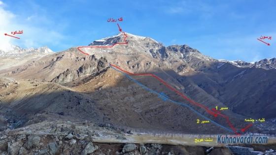 مسیر صعود به قله ریزان از دشت هویج