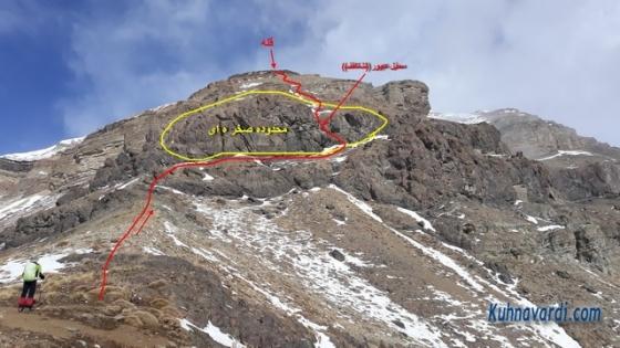 مسیر صعود به قله ریزان - محدوده صخره ای