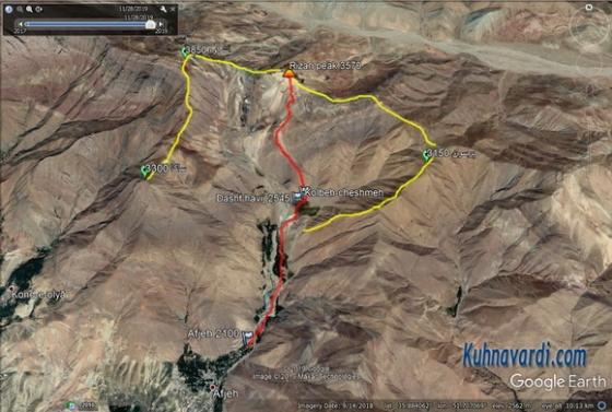 قله ریزان در گوگل ارث