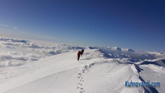 قله شاه نشین از امامزاده داود - مسیر زمستانه
