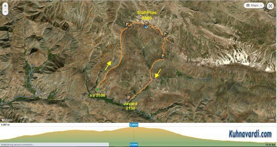 قله سیاه پلاس از روستای ایرا (فرود از مسیر جورد)