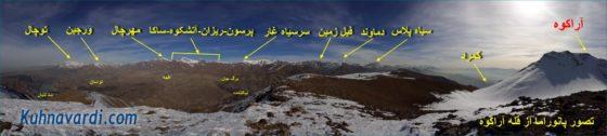 عکس پانوراما از قله آراکوه و قلل معروف در معرض دید