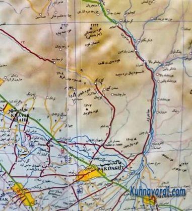 نقشه قله های منطقه حفاظت شده جاجرود - پارک ملی خجیر - سرخه حصار