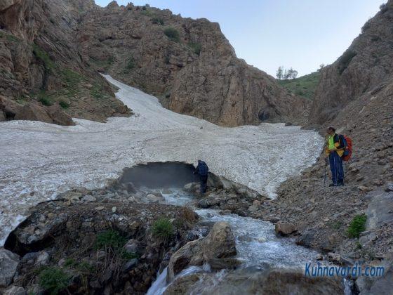 محدوده توده برف بهمن - تونل برفی روی رودخانه
