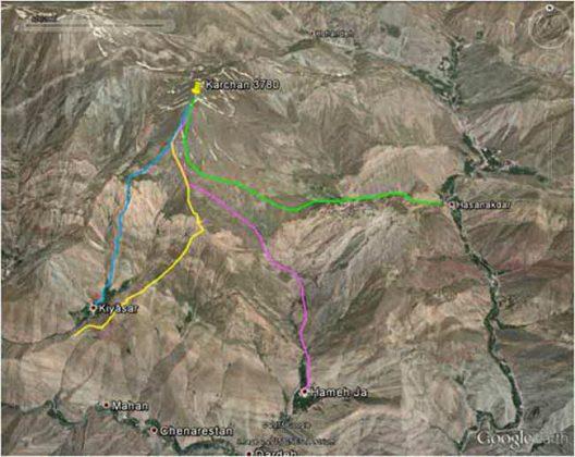 مسیرهای صعود به قله کرچان (از حسنکدر، همه جا و کیاسر)