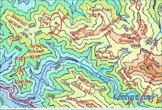 نقشه توپوگرافی قله های دونا، اویر و گراچ