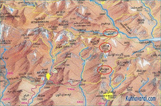 موقعیت قله های خورندان، گاوبینی و سرسیاه غار - نقشه البرز مرکزی، علی مقیم