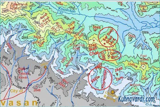 موقعیت قله های خورندان، گاوبینی و سرسیاه غار - نقشه توپوگرافی البرز مرکزی