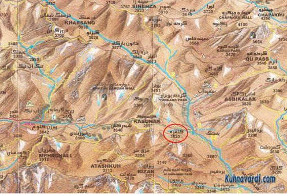 موقعیت قله کافره، نقشه البرز مرکزی، علی مقیم
